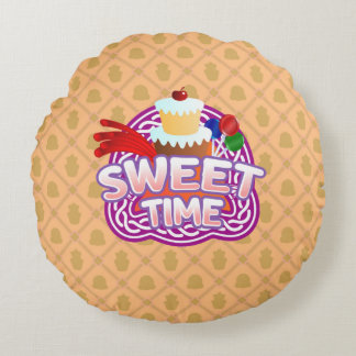 Sweet Time orange Round Throw Pillow
