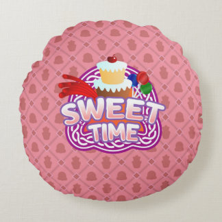 Sweet Time pink Round Throw Pillow