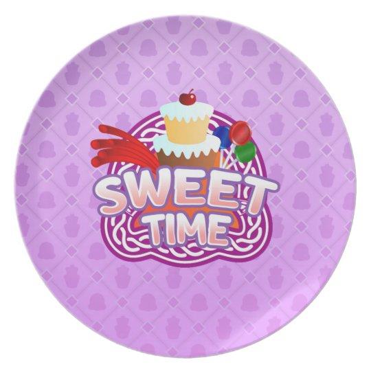Sweet Time purple Melamine Plate