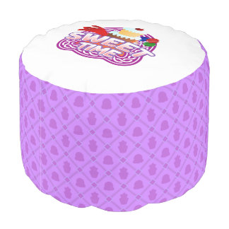 Sweet Time purple Round Pouf