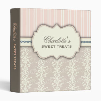 Sweet Treats Damask & Stripe Dessert Recipe Binder