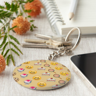 Sweet Treats Emojis Basic Round Button Keychain