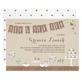Sweet Treats   Rustic   Sip & See Tea Baby Shower Card