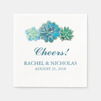 Sweet Trio Succulents Watercolor | Wedding Paper Napkin