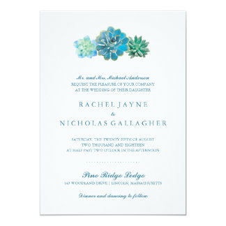 Sweet Trio Succulents | Wedding Card