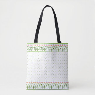 Sweet tulip flower border with green dots tote bag