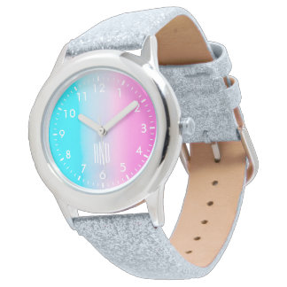 Sweet Turquoise and Pink Gradient with Initials Wristwatch