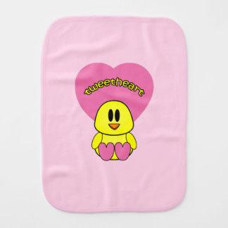 Sweet Tweetheart Heart Chick Baby Burp Clothh Burp Cloth