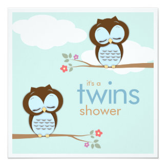 """Sweet Twins Hoot Owls Boys Baby Shower 5.25"""" Square Invitation Card"""