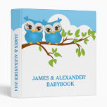 Sweet Twins Owls Boy Baby Photo Album Binder 3 Ring Binder