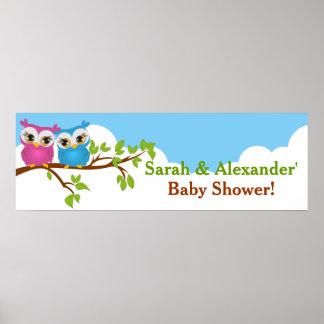 Sweet Twins Owls Boy Girl Baby Shower Banner Print