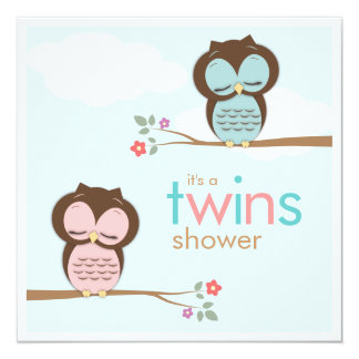 "Sweet Twins Owls Boy Girl Baby Shower Invitation 5.25"" Square Invitation Card"