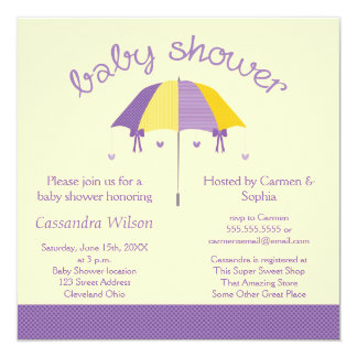 Sweet Umbrella Baby Shower Purple Yellow Invite