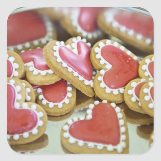 sweet valentine cookies in a tin biscuit box square sticker