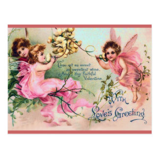Sweet Victorian Fairy Valentine Postcard