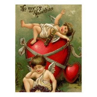 Sweet Vintage Cherubs & Heart Postcard