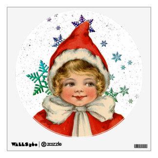 Sweet Vintage Christmas Elf Girl Wall Sticker