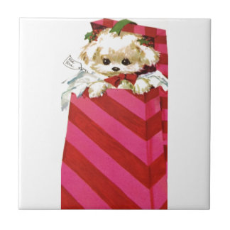 Sweet Vintage Christmas Puppy Bichon Lhasa Maltese Ceramic Tile
