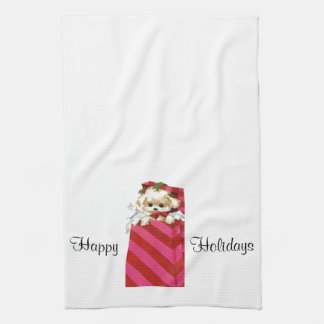Sweet Vintage Christmas Puppy Bichon Lhasa Maltese Kitchen Towel