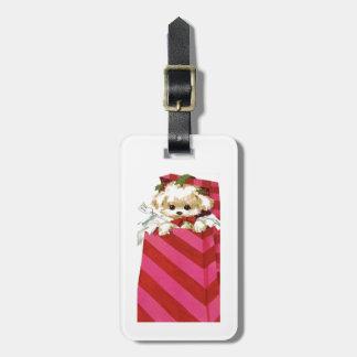 Sweet Vintage Christmas Puppy Bichon Lhasa Maltese Luggage Tag