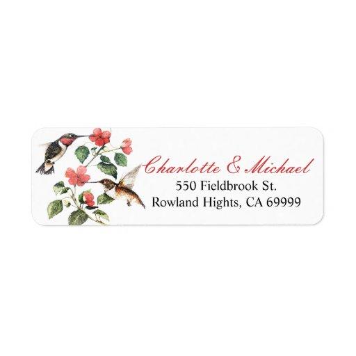 Sweet Vintage Floral Hummingbirds Pair Custom Return Address Label