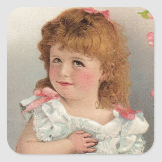 Sweet Vintage Girl Square Sticker
