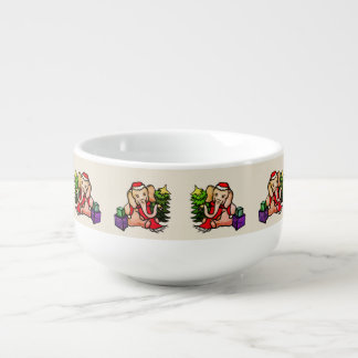 Sweet Vintage Santa Elephants Christmas Soup Mug