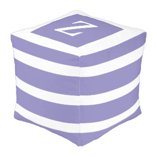 Sweet Violet and White Stripe Monogram Pouf