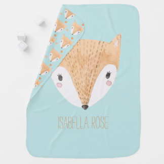 Sweet Watercolor Baby Fox Baby Blanket