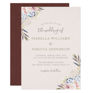 Sweet Watercolor Floral Damask Wedding Invitation