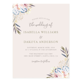 Sweet Watercolor Floral Damask Wedding Invitation Postcard