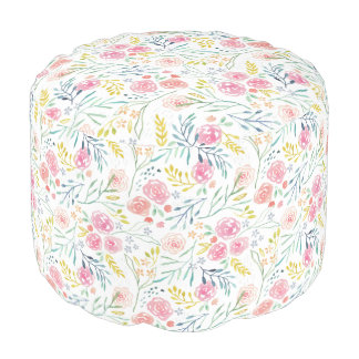 Sweet Watercolor Floral Pouf