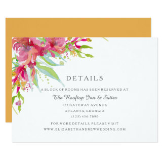 Sweet Watercolor Floral Wedding Details Card