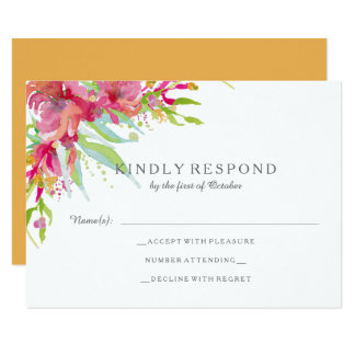 Sweet Watercolor Floral Wedding RSVP Card