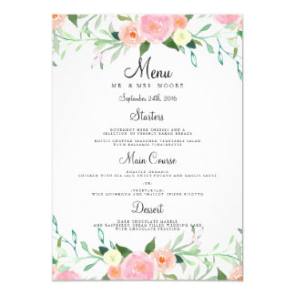 Sweet Watercolor Pink Peach Wedding Dinner Menu Card