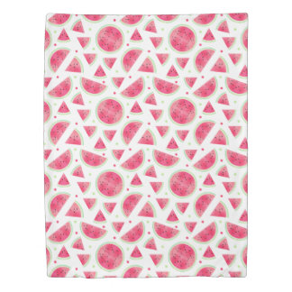 Sweet Watercolor Watermelon Pattern Duvet Cover