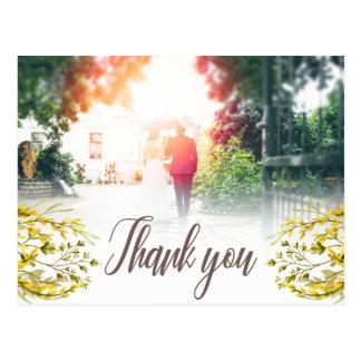 Sweet Watercolor Wildflowers Thank you Postcard