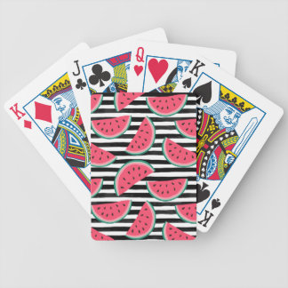 Sweet Watermelon on Stripes Black & White Pattern Bicycle Playing Cards