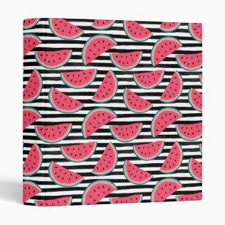 Sweet Watermelon on Stripes Black & White Pattern Binder