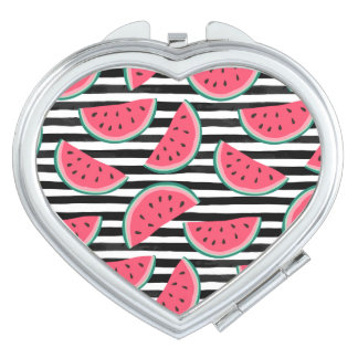 Sweet Watermelon on Stripes Black & White Pattern Compact Mirror