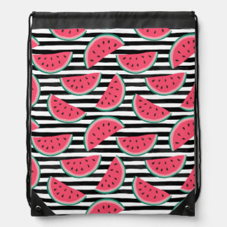 Sweet Watermelon on Stripes Black & White Pattern Drawstring Bag