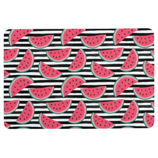 Sweet Watermelon on Stripes Black & White Pattern Floor Mat