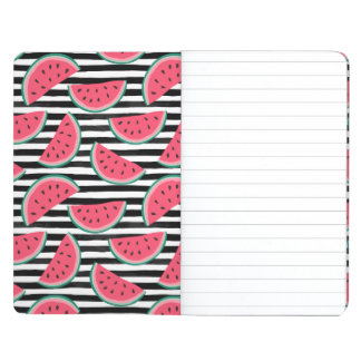 Sweet Watermelon on Stripes Black & White Pattern Journal
