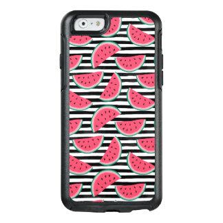 Sweet Watermelon on Stripes Black & White Pattern OtterBox iPhone 6/6s Case