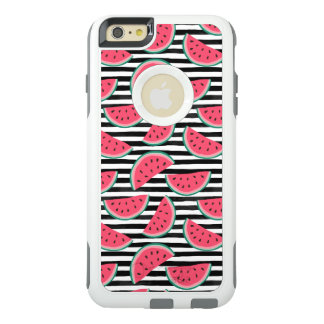 Sweet Watermelon on Stripes Black & White Pattern OtterBox iPhone 6/6s Plus Case
