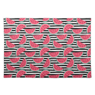 Sweet Watermelon on Stripes Black & White Pattern Placemat