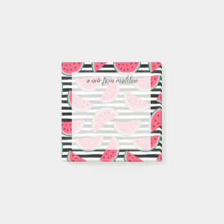 Sweet Watermelon on Stripes Black & White Pattern Post-it Notes