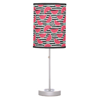Sweet Watermelon on Stripes Black & White Pattern Table Lamp