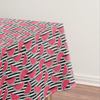Sweet Watermelon on Stripes Black & White Pattern Tablecloth