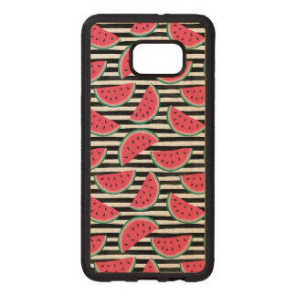 Sweet Watermelon on Stripes Black & White Pattern Wood Samsung Galaxy S6 Edge Case